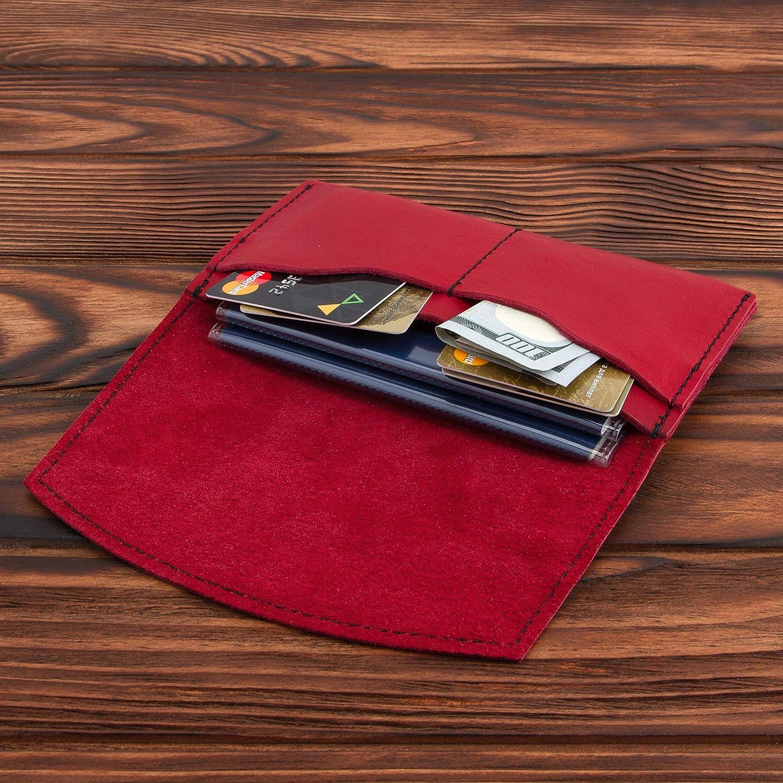 Red Leather Passport Holder – Multiple Passport Travel Organizer - Wallet Cover Case