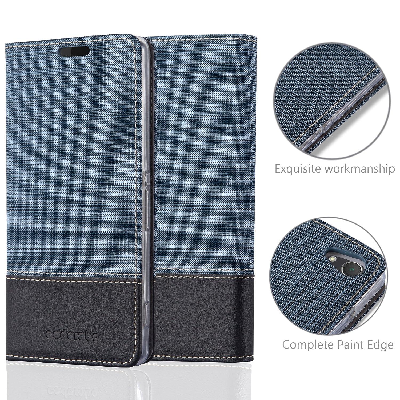 Portefeuille Etui Poche Folio Case Cover Housse Protection avec Fermoire Magn/étique Cadorabo Coque pour Sony Xperia Z2 en Bleu FONC/É Noir Stand Horizontal et Fente Carte