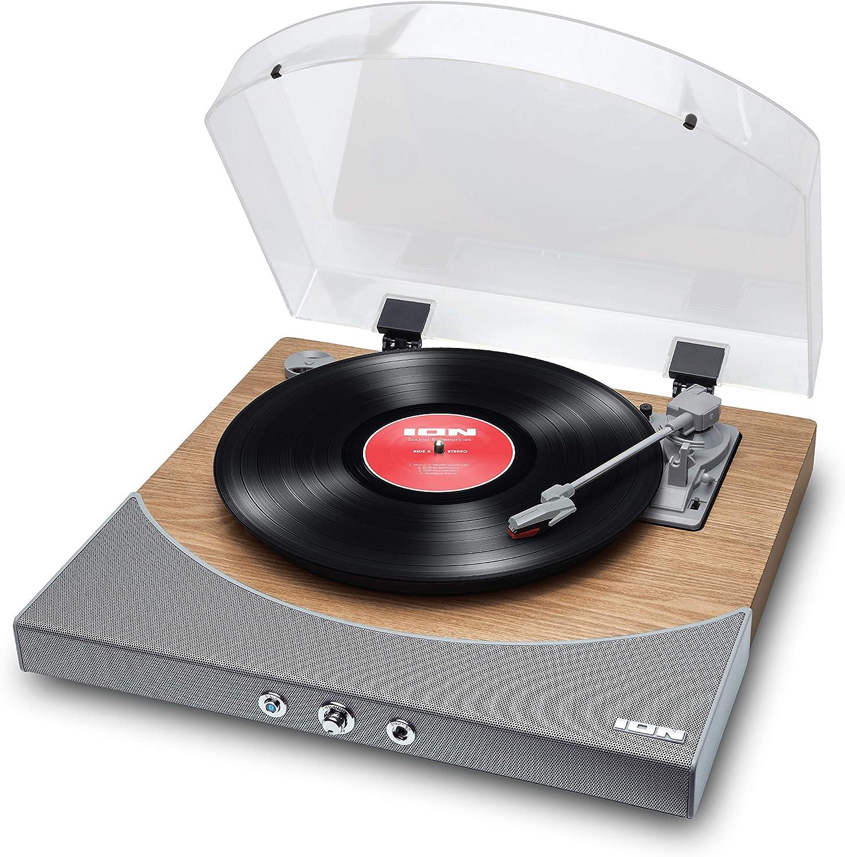 ION Audio Premier LP - Tocadiscos de vinilo Bluetooth, de 3 velocidades, altavoces estéreo, salida USB para convertir vinilos a formato digital, salidas auriculares y RCA, acabado en madera natural