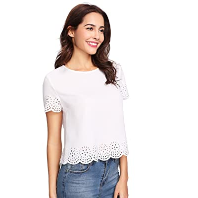 Milumia Women Casual Scallop Cut Out Round Neck Cap Sleeve Work Blouse Shirt Tops White
