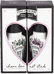 Poo-Pourri Before-You-Go Toilet Spray, Vanilla Mint & Lavender Vanilla Scent, Share Love Not Stink Set of 2, 2 oz Bottles