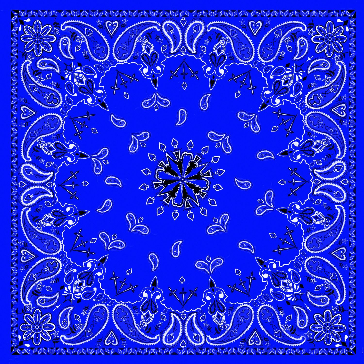 Blue Paisley 100% Cotton Bandana