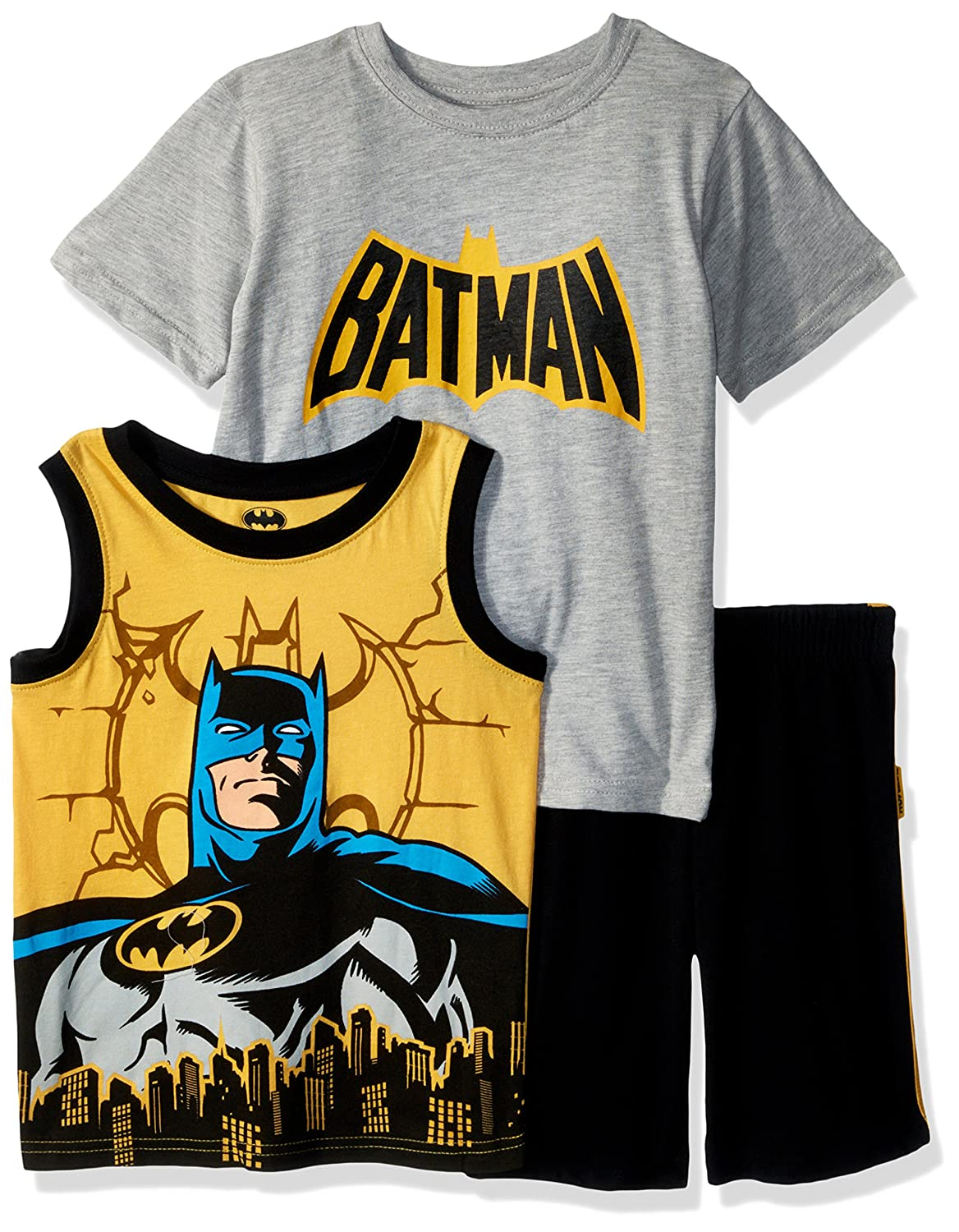 2T 8WB6714 Warner Brothers Boys Toddler Batman 3 Piece Short Set Grey