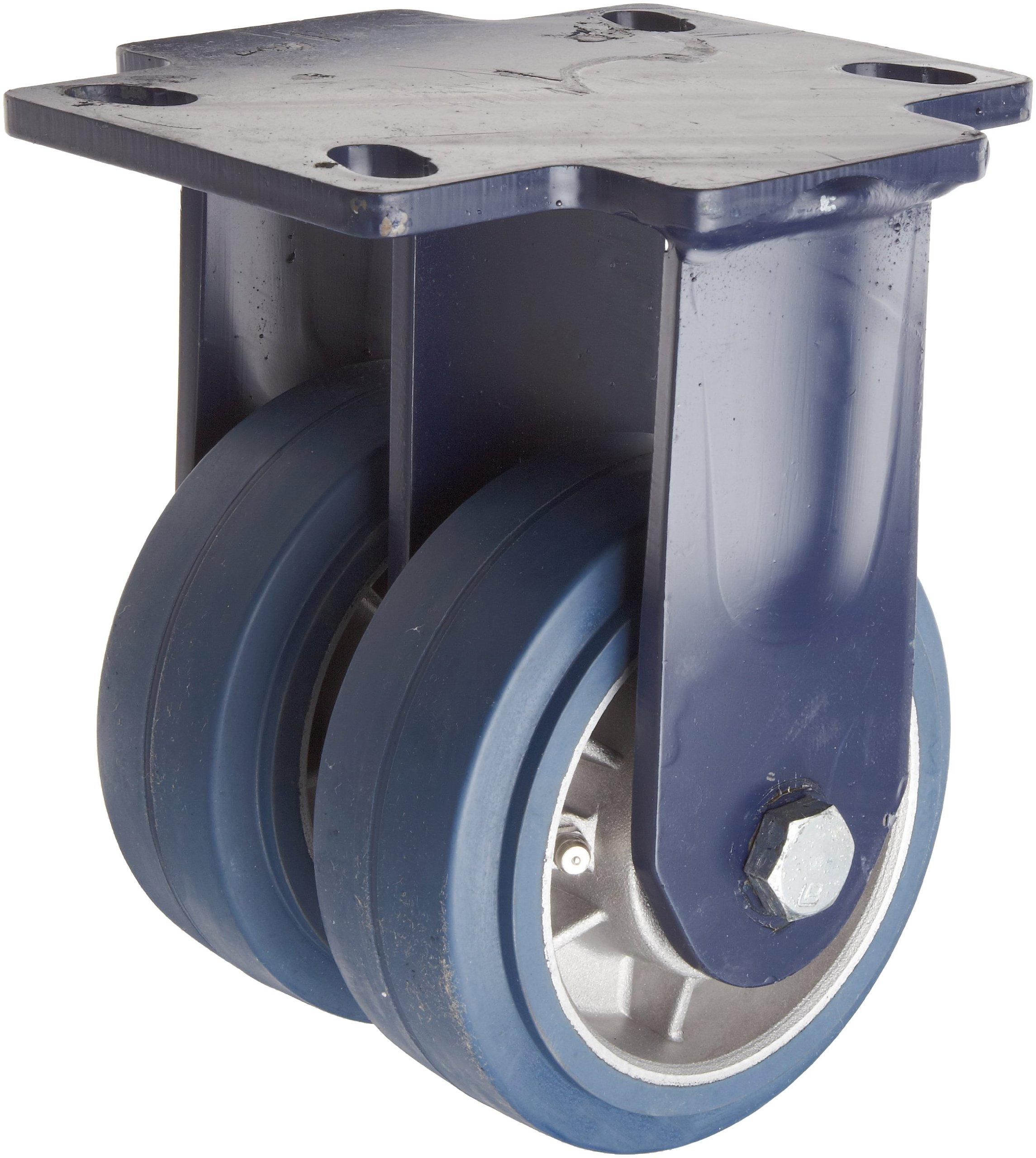 RWM Casters 2-75 Series Plate Caster, Rigid, Dual Wheel, Kingpinless, Rubber on Aluminum Wheel, Ball Bearing, 1600 lbs Capacity, 5'' Wheel Dia, 2'' Wheel Width, 7-1/2'' Mount Height, 6-1/2'' Plate Length, 4-1/2'' Plate Width