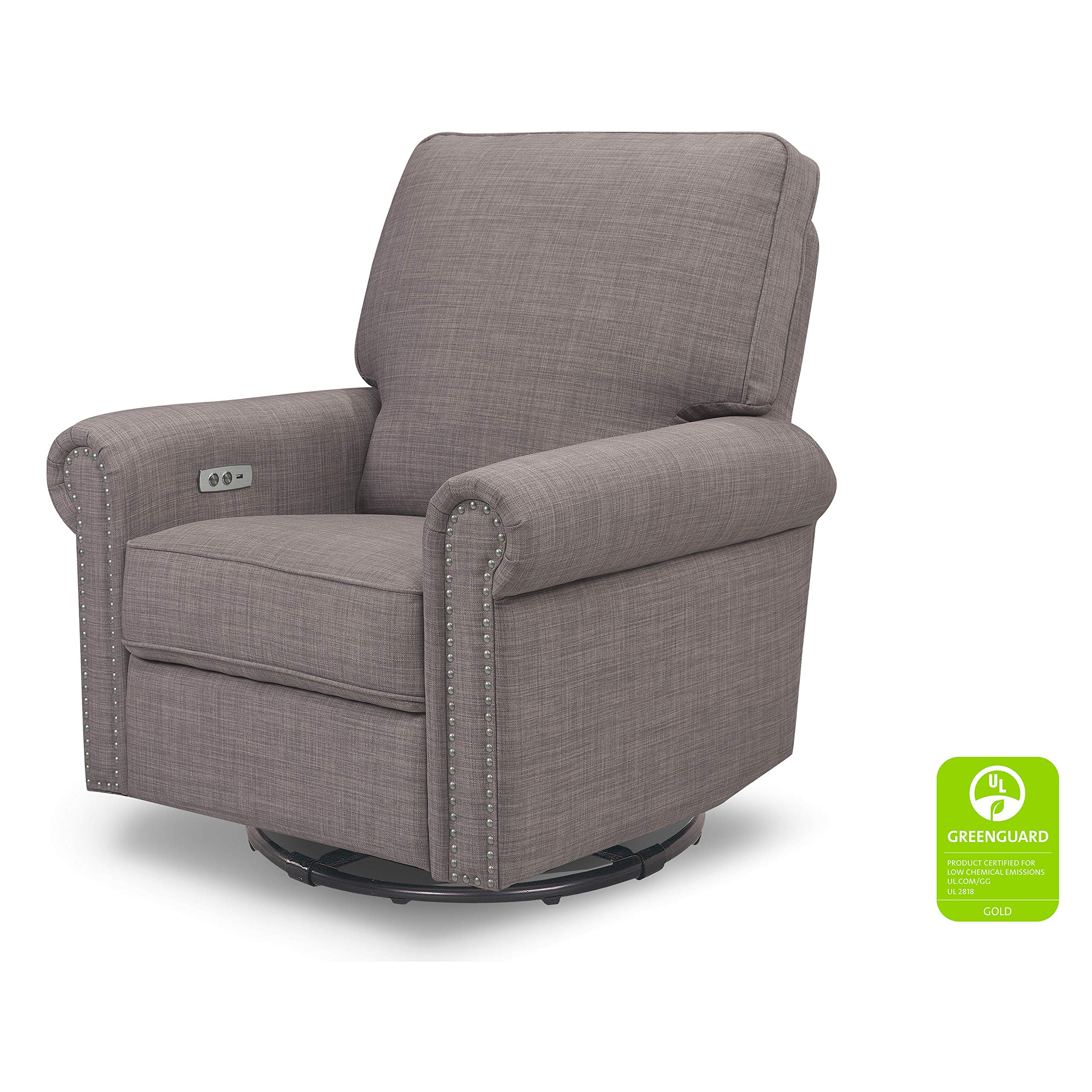 Million Dollar Baby Classic Linden Power Recliner and Swivel Glider in Grey Tweed | USB Charging Port | Push-Button Electronic Reclining Mechanism by Million Dollar Baby Classic