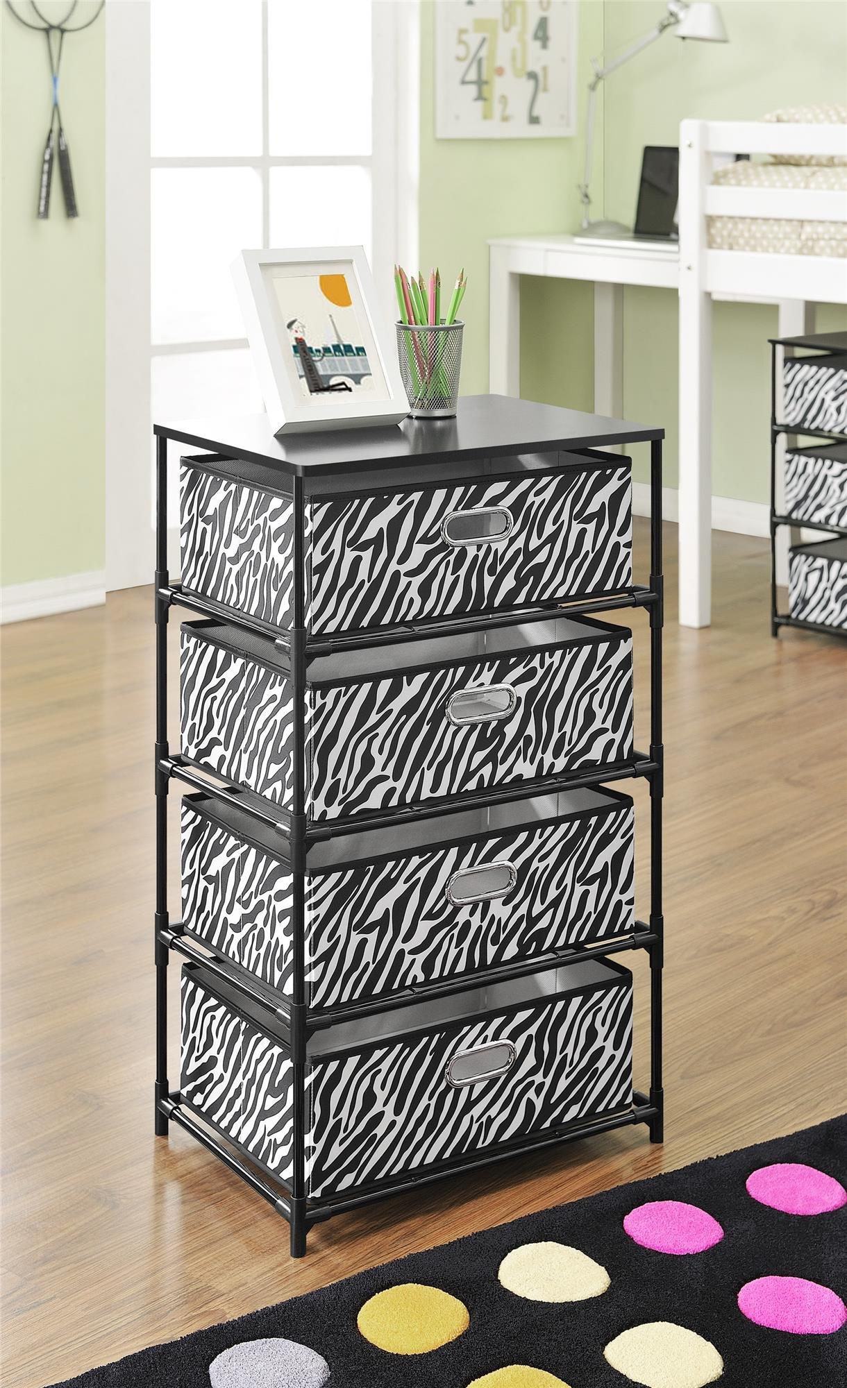 Ameriwood Home 7777096 Sidney 4-Bin Storage End Table, Zebra