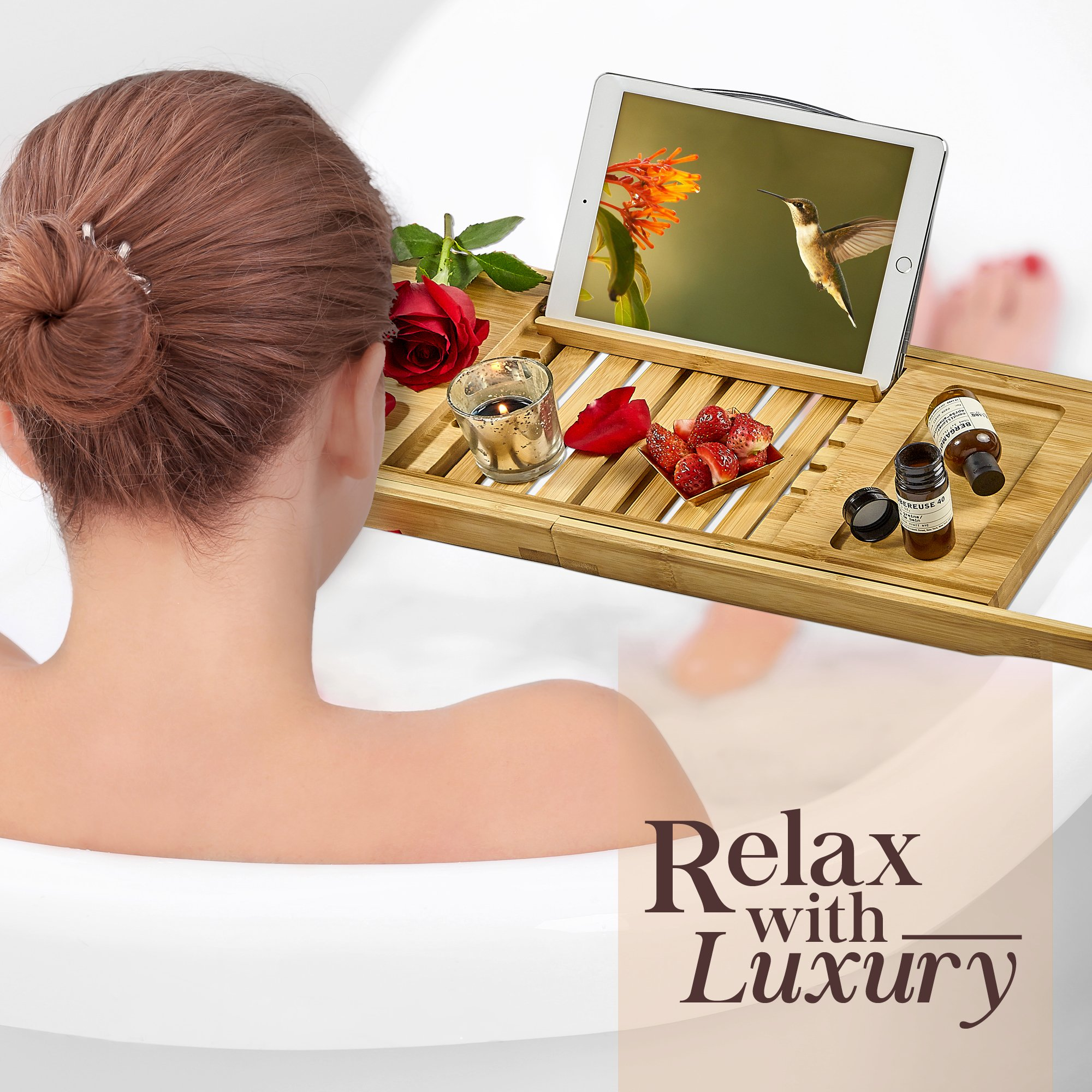 Tregini Luxury Bathtub Caddy - Extendable Bamboo Wood Bath Tray with Adjustable Book, iPad or Kindle Reading Rack - Wine Glass Holder - Cellphone or Tablet Slot by Tregini (Image #6)