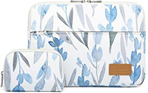 Canvaslife Daffodils Pattern 360 Degree Protective 13 inch Canvas Laptop Sleeve with Pocket 13 Inch 13.3 Inch Laptop Case