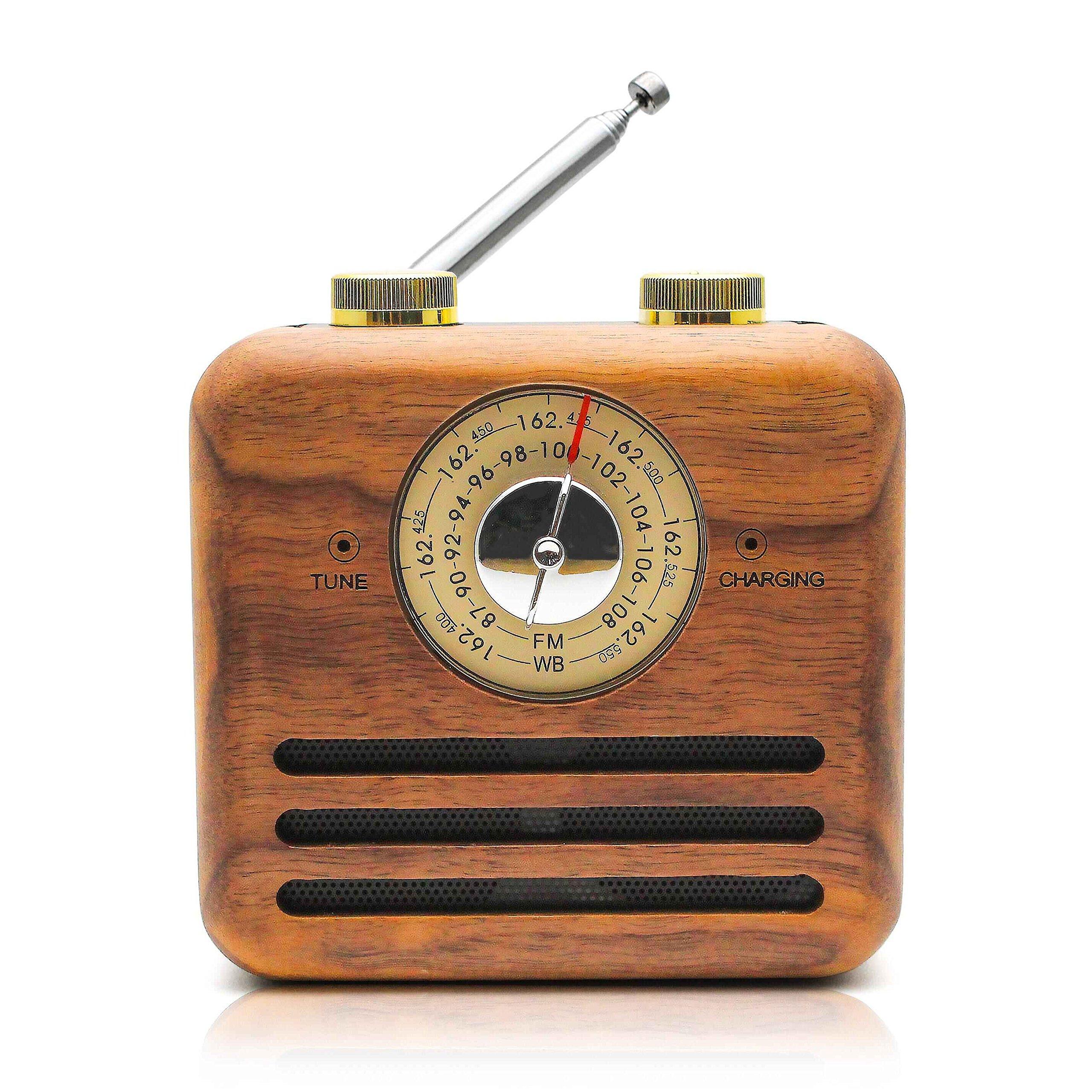 Retro Speaker Radios, Wireless Bluetooth Speaker Wood FM/WB Radio, Natural Walnut Material, Loud Clear Sound Home, Office, Travel