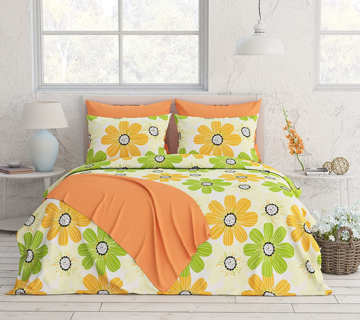 Queen Floral Yellow 6 Piece Livingston Home Turkish Collection 250 Thread Count Reversible Sheet Set