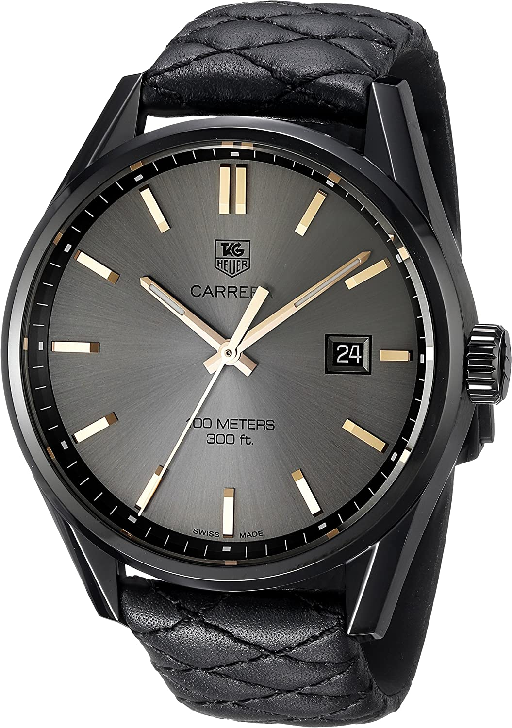 TAG Heuer Women's 'Carrera' Swiss Quartz Titanium and Black Leather Dress Watch (Model: WAR101A.FC6367)