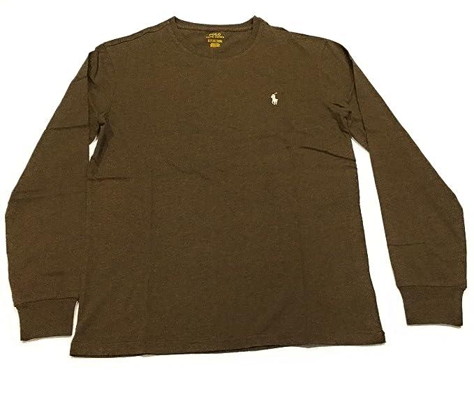 Polo Ralph Lauren Mens Long Sleeve Crewneck Logo T-Shirt (Small- Brown Heather