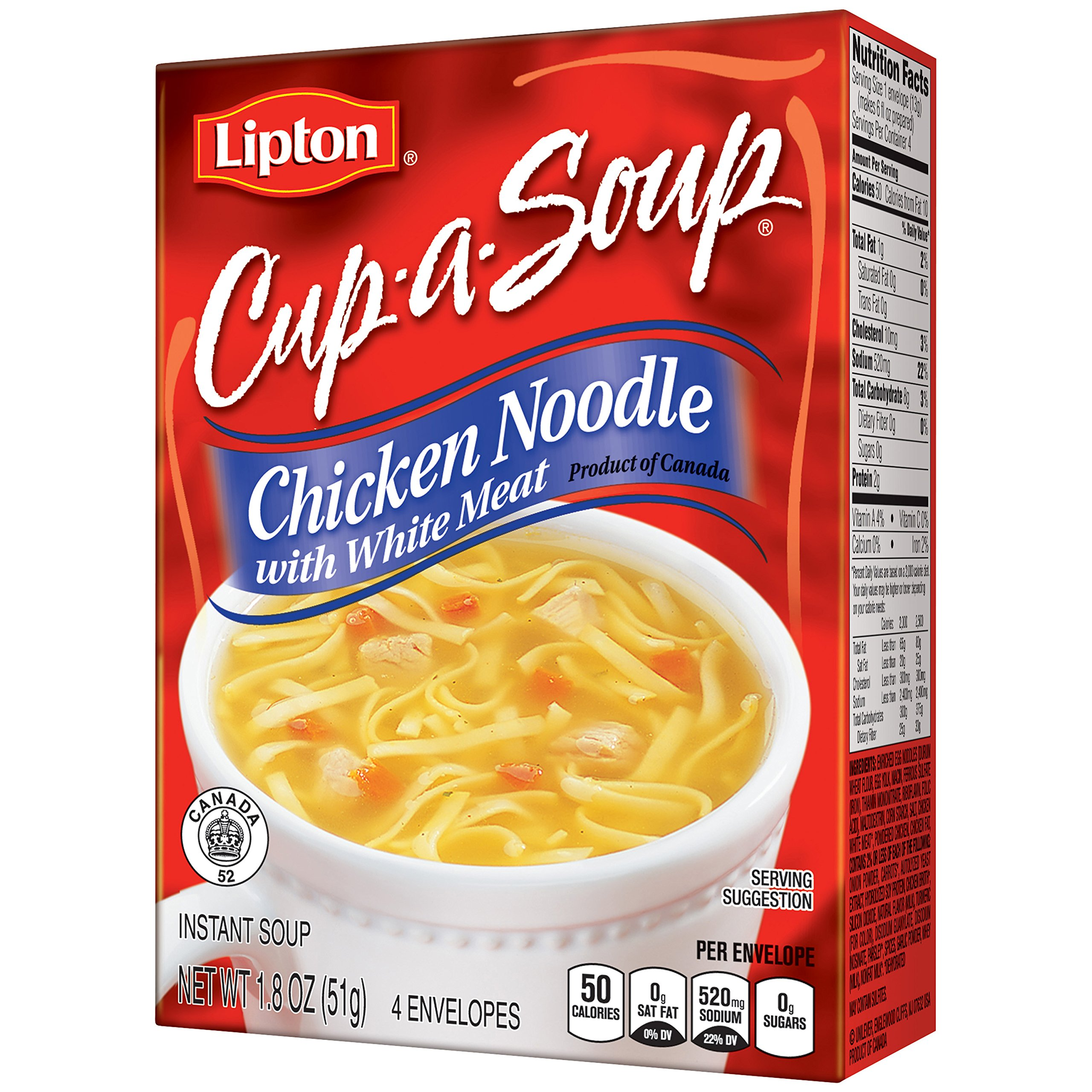 Lipton Cup-A-Soup Instant Soup Mix, Chicken Noodle with White Meat 1.8 oz,pack of 12
