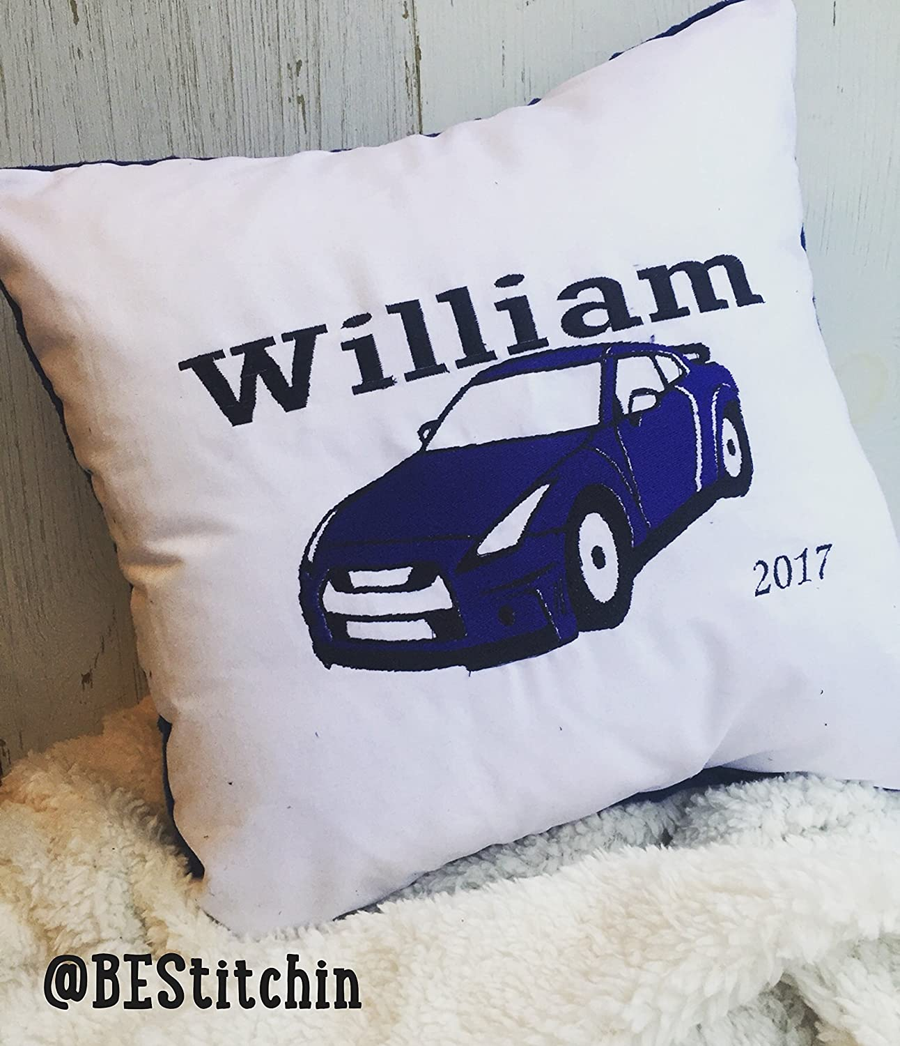 Embroidered Throw Pillow, Car Name Pillow