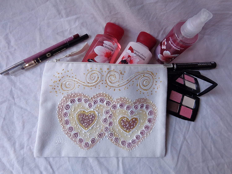 ... Painted Canvas Zipper White Cosmetic Wedding Case,Zipper Pouch,Bridesmaid  Gifts,Bachelorette,Makeup Bag,Travel Cosmetics Bag,Makeup Organizer,Toiletry  ... d27cb82ad8