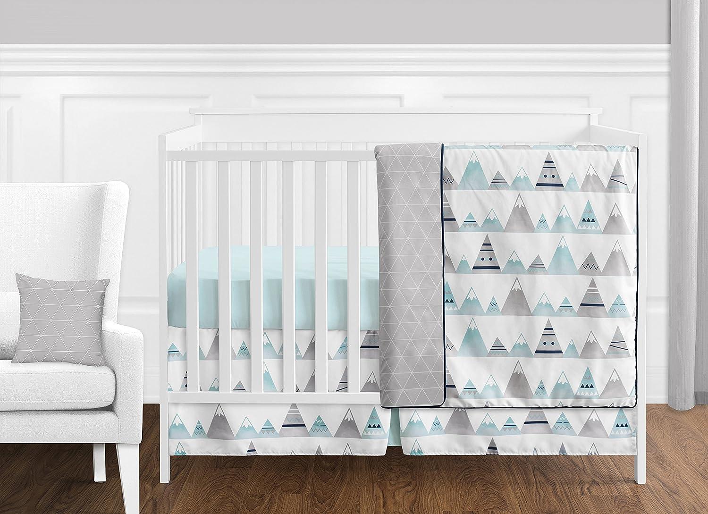 11 pc. Navy Blue, Aqua and Grey Aztec Mountains Baby Boy or Girl Unisex Crib Bedding Set by Sweet Jojo Designs