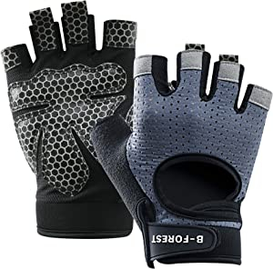 B-Forest Workout Gloves with Wrist Support Cycling Gloves for Men Women for Training, Fitness, Hanging, Pull-ups (1 Pair)