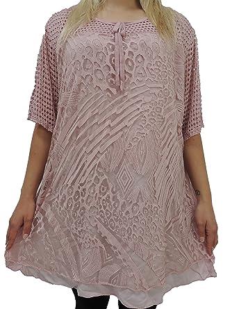 Damen Bluse Größe 46 48 50 52 54 Übergröße Tunika Blusen Shirt Muster Spitze 124