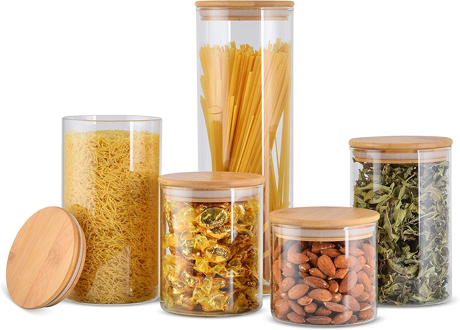 Set of 5 Glass Containers for Food Storage with Lids; Glass Canister Sets for Kitchen Counter; Ideal for Coffee and Rice Containers, Flour and Sugar Airtight Containers; Glass Cookie Jar with Lid
