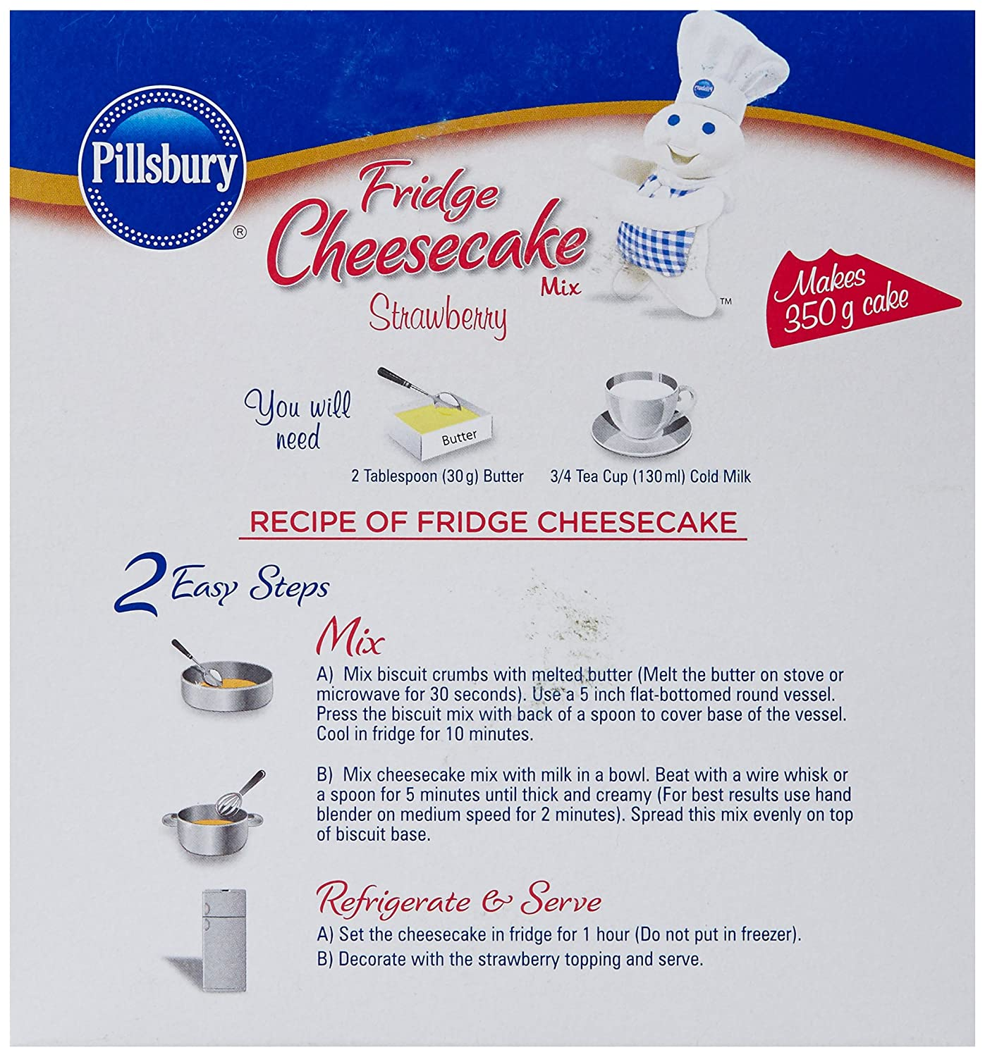 Pillsbury Fridge Cheesecake Mix, Strawberry, 165g: Amazon.in: Grocery & Gourmet Foods