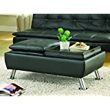 Coaster Dilleston Contemporary Black Faux Leather Storage Ottoman with Reversible Tray Tops