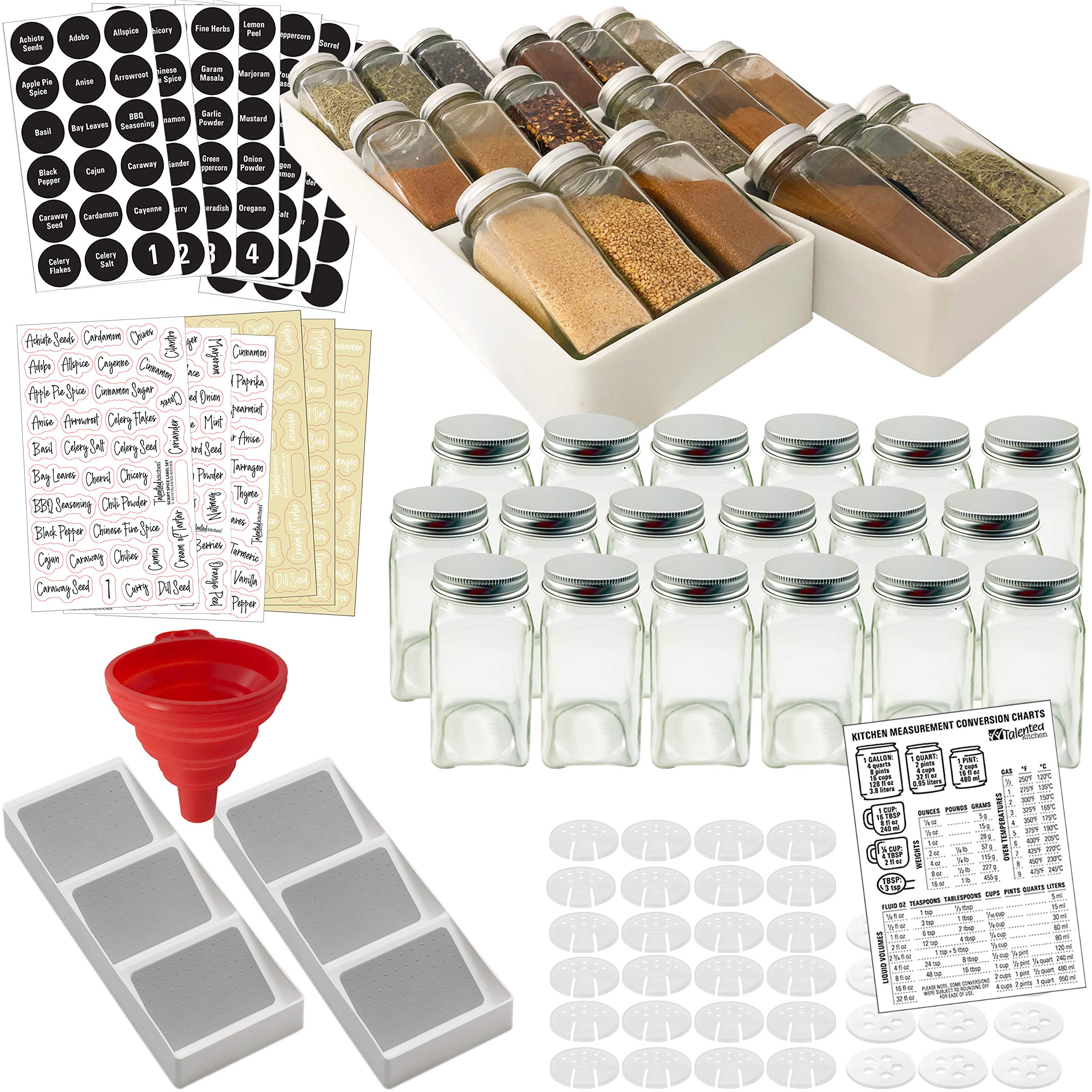 Spice Rack Drawer Organizer w/18 Glass Spice Jars & 2 Types of Printed Spice Labels by Talented Kitchen. Complete Set: 2 Drawer Trays, 18 Square Empty Glass Jar 4oz, Chalk & Clear Label by Talented Kitchen