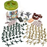 Military Battle Group Bucket – 100 Assorted Soldiers and Accessories Toy Play Set For Kids, Boys and Girls | Plastic Army Men