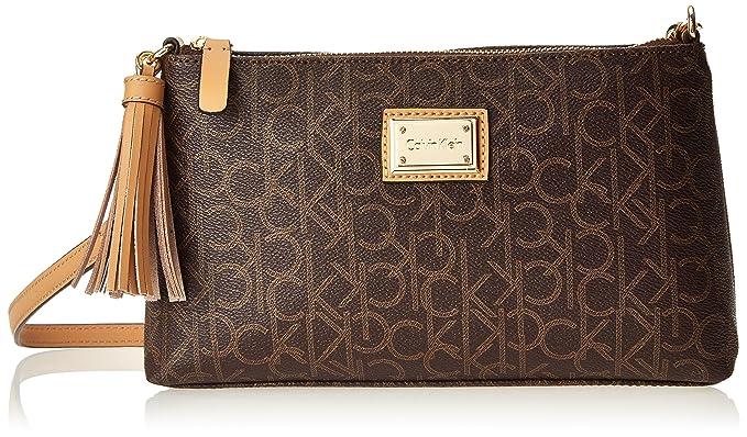 c037563e3 Calvin Klein Monogram Tassled Crossbody, Brown/Khaki/Camel: Handbags ...
