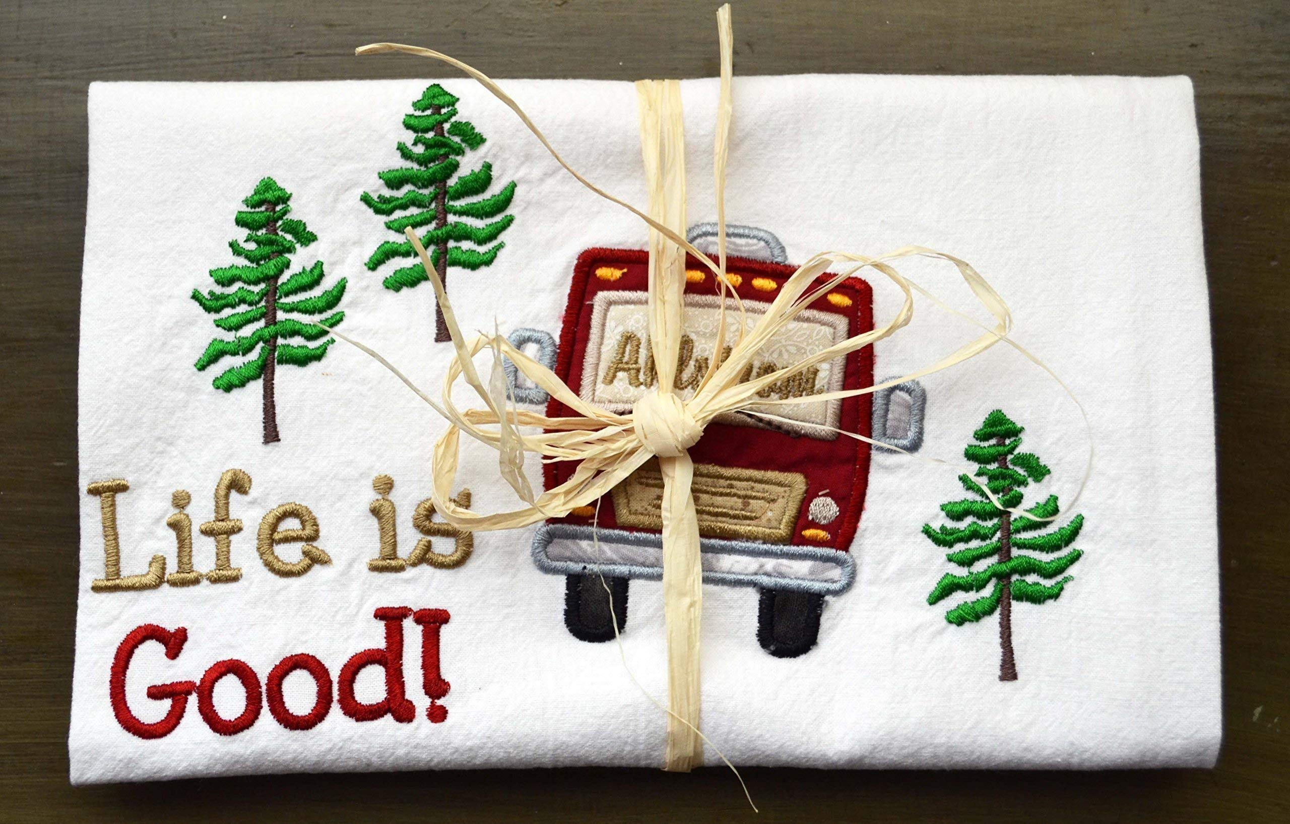 Custom Dish Towel, Camping Gift, RV Decor, Camping Dish Towel, Glamping, RV Accessories, Flour Sack Towel, RV Gift, Camper Decor, Top Quality, Choice of RV Color, (Option to add name in window) by Embroidery Hut (Image #4)