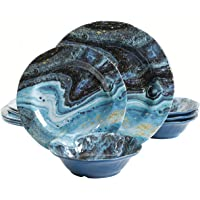 Gibson Home Elixir Round Melamine Dinnerware Set, Service for Four (12pcs), Metallic Blue
