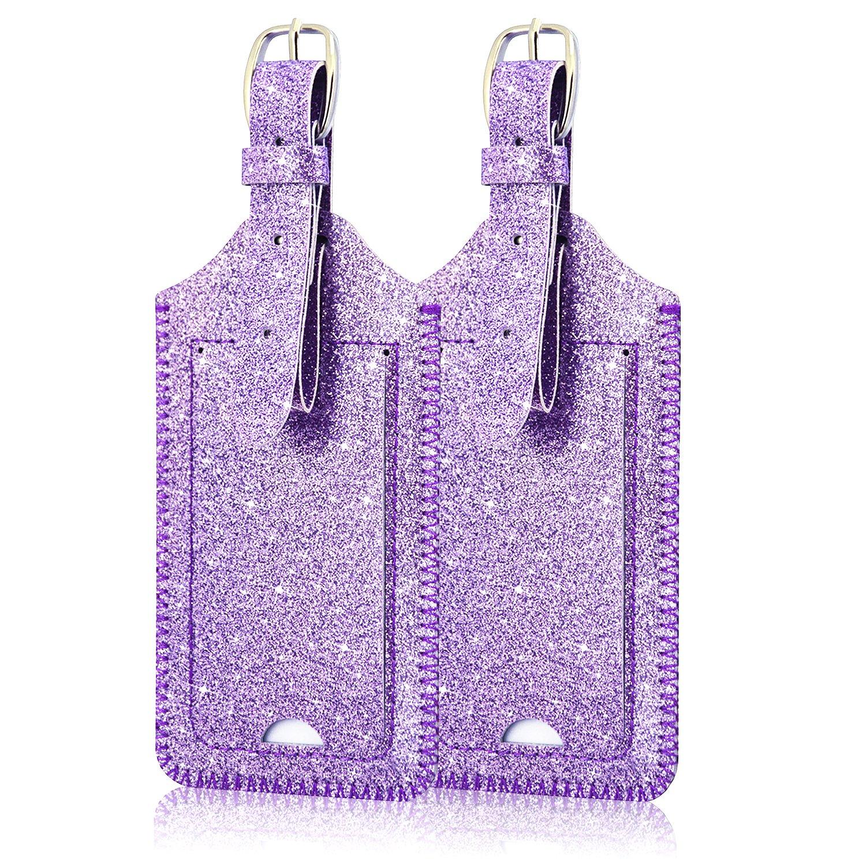 荷物タグ、ACdreamレザーケース荷物タグバッグタグトラベルタグ2ピースセット、 B076XXXHX8 Purple Star of Paris