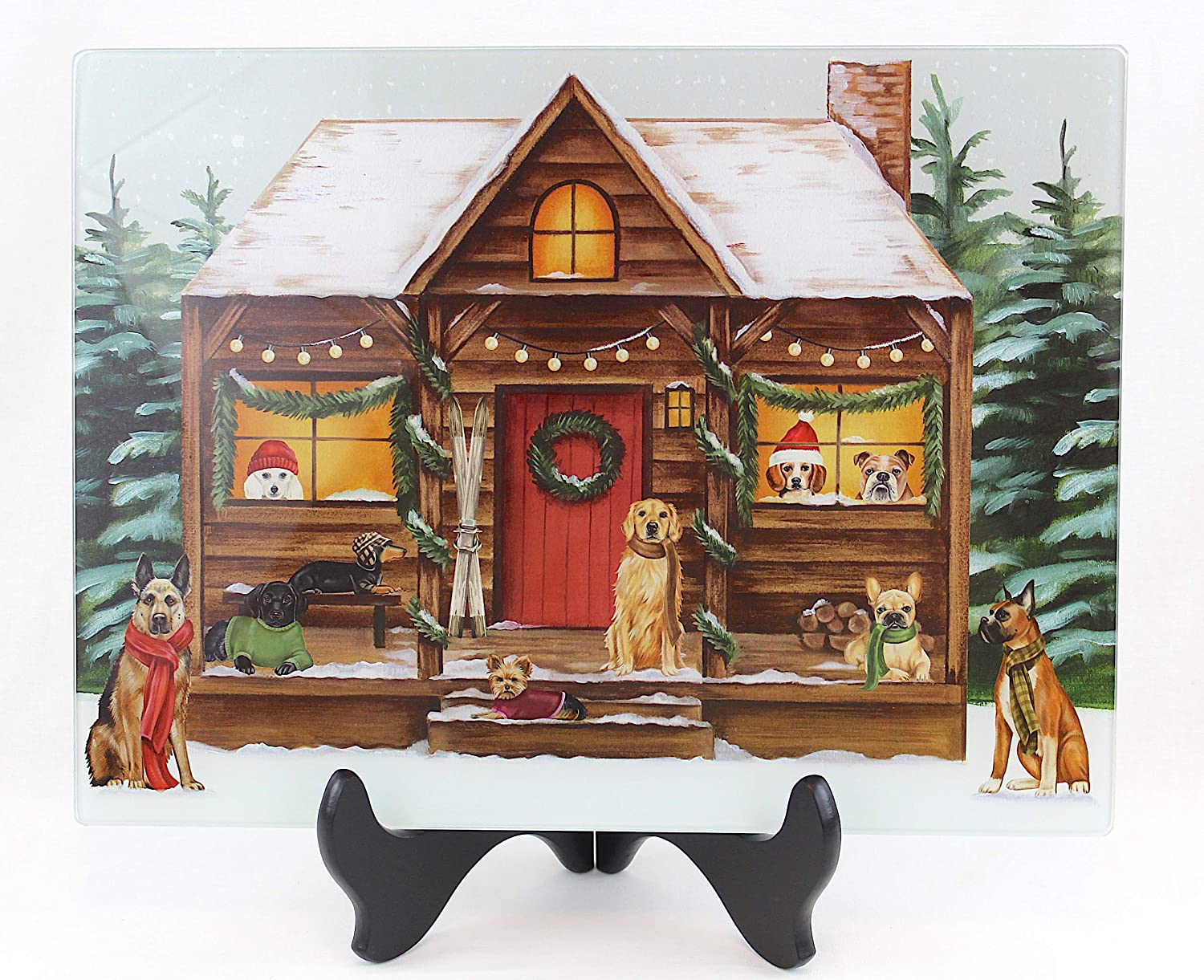 Holiday Glass Kitchen Cutting Board: Greetings from the Dog House