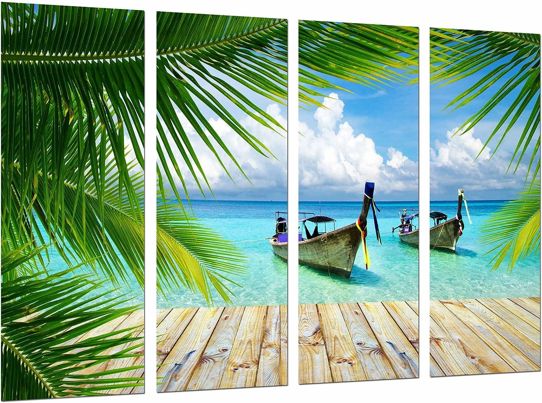Cuadro Fotográfico Barcas en el Mar, Playa Paradisiaca Tamaño total: 131 x 62 cm XXL
