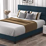 Allewie Full Size Platform Bed Frame with Fabric Upholstered Headboard and Strong Wooden Slats, Mattress Foundation/Box Sprin