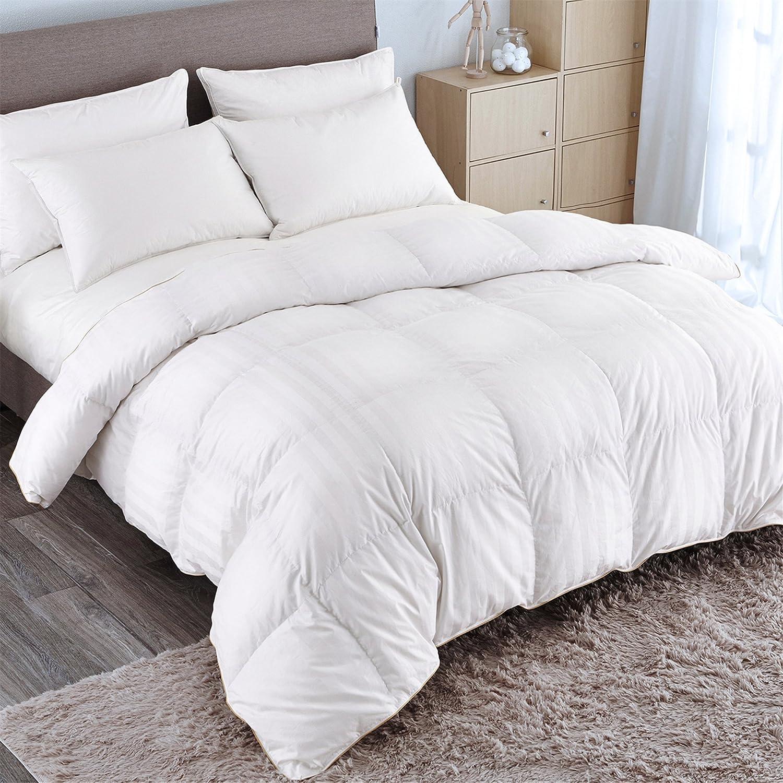 40eef59f79eb8 Amazon.com: PUREDOWN Goose Down Comforter 600 Fill Power Cotton Shell 500  Thread Count Stripe Full/Queen White: Home & Kitchen