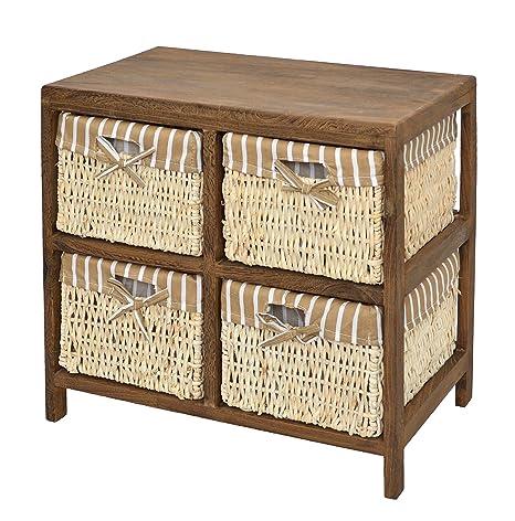 Cómoda marrón natural con 4 cestas con look vintage para piso, comedor, habitación de niños, baño o pasillo