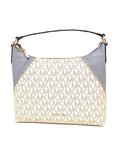 afe3cc10372a Michael Kors Aria Medium Monogram Signature Vanilla/Pale Blue Pvc/Leather Shoulder  Bag (35S8GXAL2B): Handbags: Amazon.com