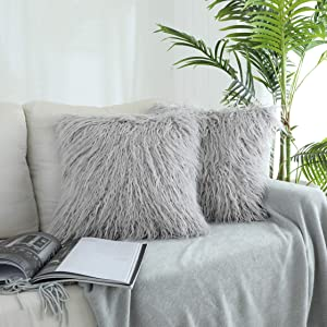 Kevin Textile Deluxe Home Decorative Super Soft Plush Mongolian Faux Fur Throw Pillow Cover Cushion Case (18 x 18 Inch, Light Grey)
