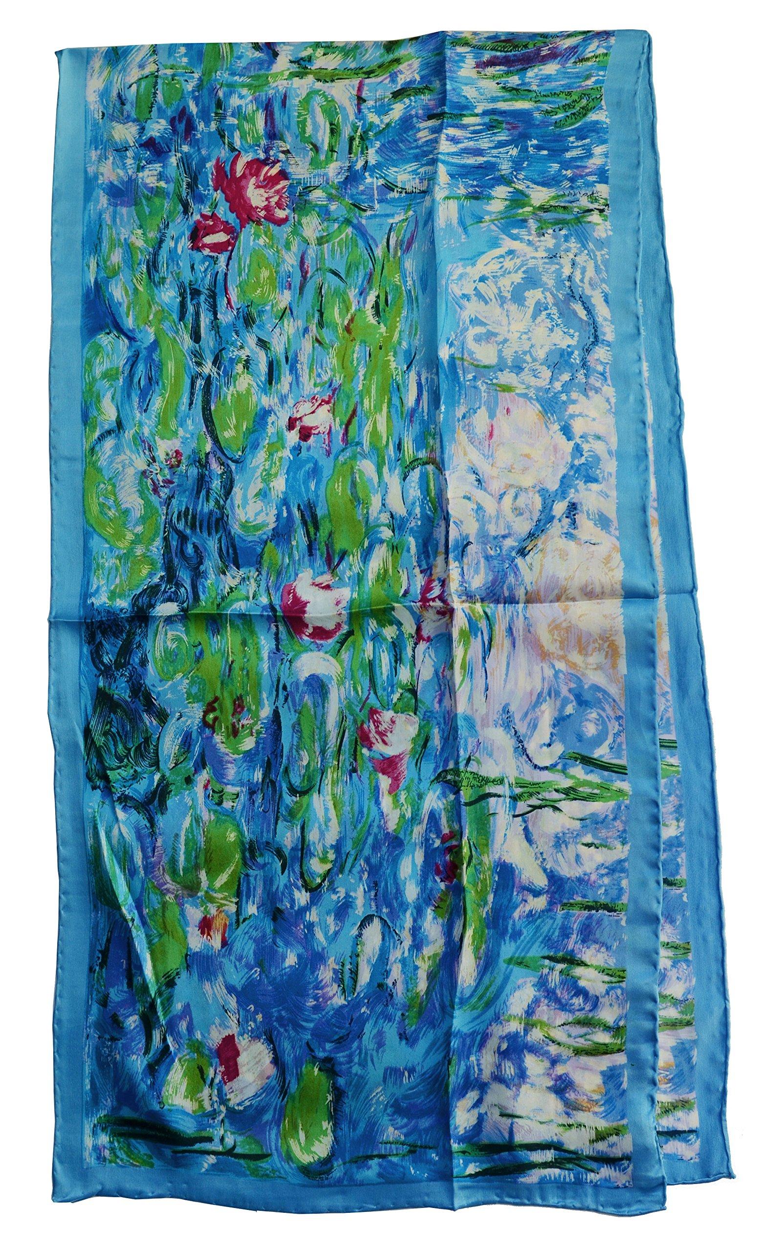 Van Gogh and Claude Monets Paintings, Fashion Silk Scarf Premium Shawl Wrap Art (Claude Monet's Water Lilies)