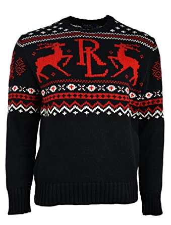 Polo Ralph Lauren Men\u0027s Fair Isle Knit Crewneck Christmas Sweater (Medium)