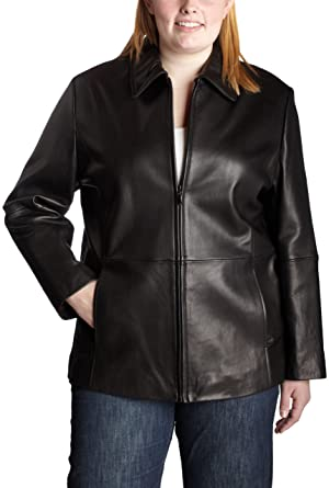Liz Claiborne Womens Plus Size Leather Jacket Black 1x At Amazon