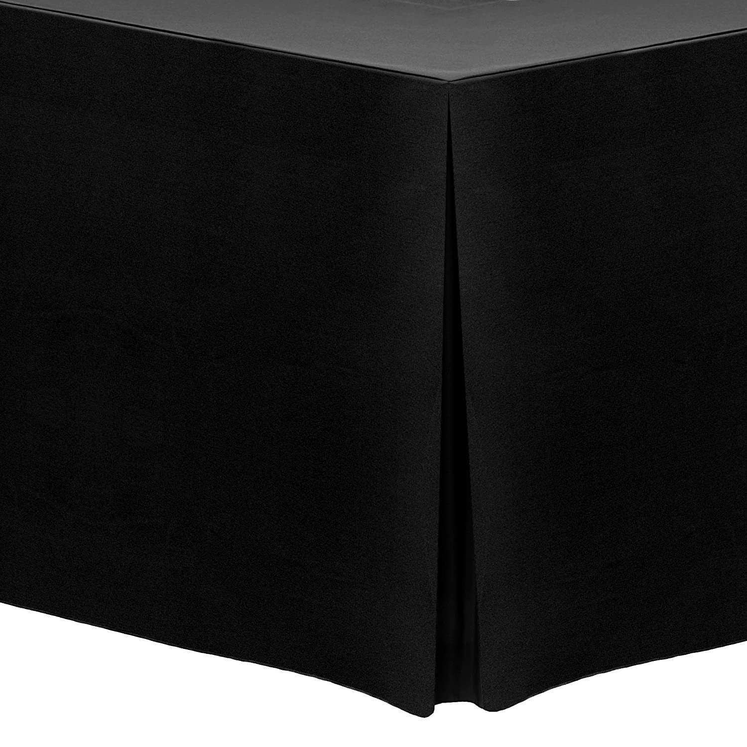 "Ultimate Textile 4 ft. Fitted Polyester Tablecloth - Fits 24 x 48-Inch Rectangular Tables - 42"" H, Black"