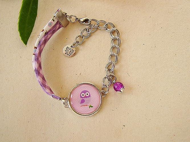 pas cher outlet acheter pas cher Cadeau anniversaire, bracelet enfant violet, chouette ...