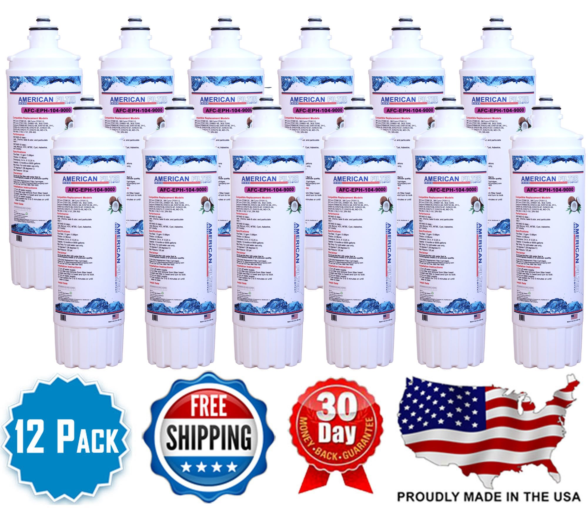 12 Pack AFC (TM) Brand Water Filters (Compatible with Everpure(R) SPA 400 Filters)