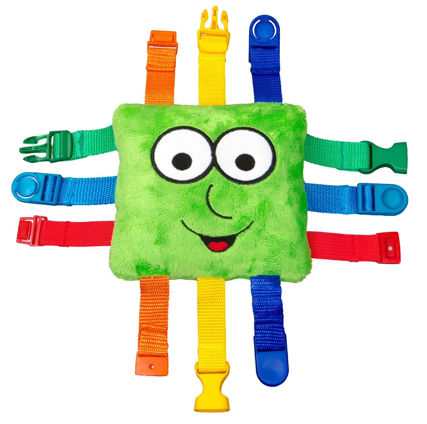 BUCKLE TOY Buster – Toddler Early Learning Basic Life Skills Children's Plush Travel Activity Buckle Toy Inc Buster the Square