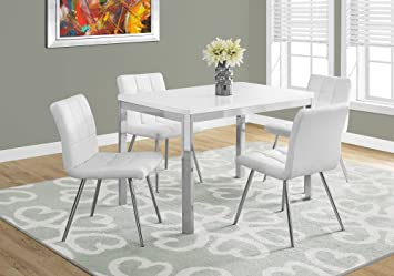Monarch Specialties I Dining Table 32 X 48 White Chrome Metal