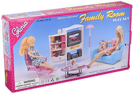 Amazon Com Gloria Barbie Size Doll House Furniture Family Room Tv