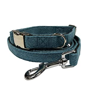 985f1cab8 Glen Appin Harris Tweed Dog Collar And Lead Set In Various Colours And  Sizes (Medium, Turquoise/Blue)
