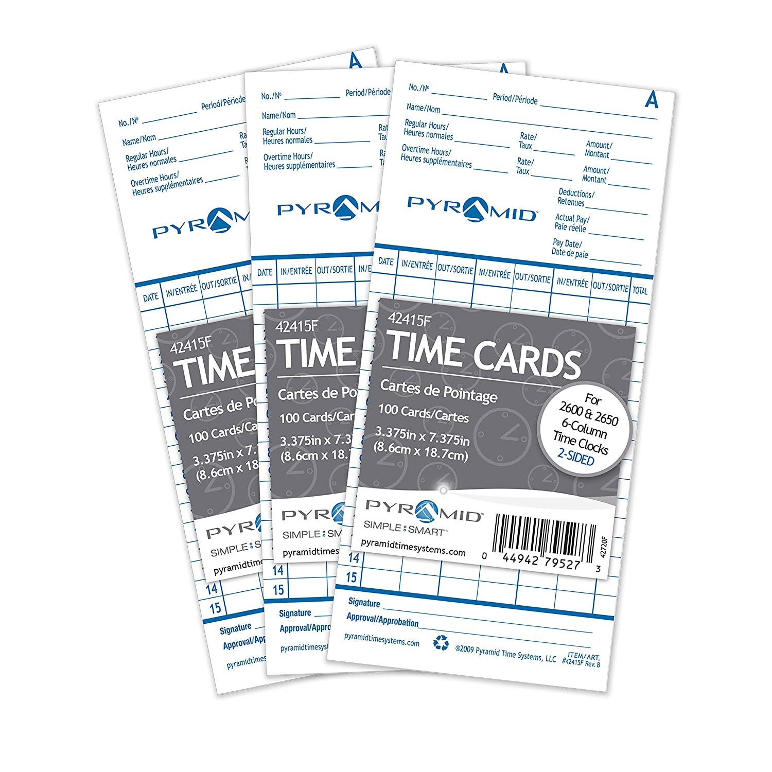 Pyramid 1, 000 Count Time Cards for 2600 and 2650 Time Clocks-French 42415FMB