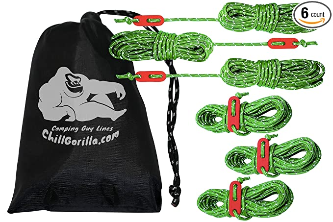 Chill Gorilla 4mm Reflective Tent Guide Rope Guy Line Cord – Top Rated Guyline For Hammock Rainfly